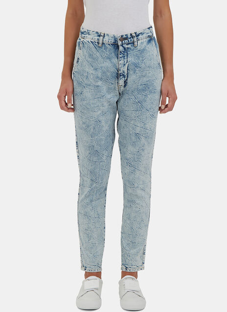 Low-Slung Aged-Wash Skinny Jeans
