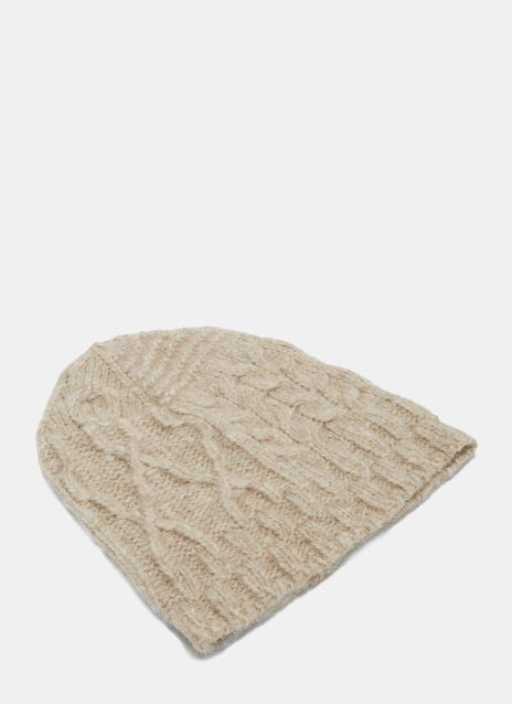 Patchwork Cable Knitted Beanie Hat