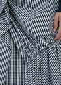 Gingham Asymmetric Ruffled Poplin Skirt