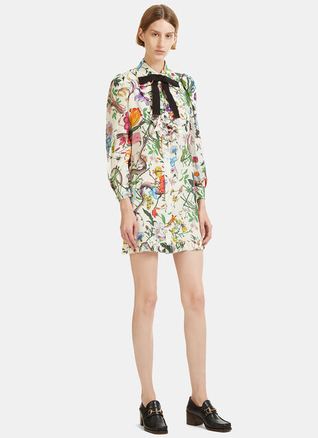 Flora Snake Print Ruffled Shirt Dress