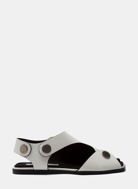 Women's Cut-Out Press Stud Sandals in White