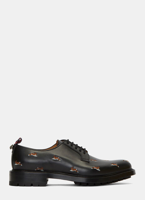 Hare Embroidered Leather Derby Shoes