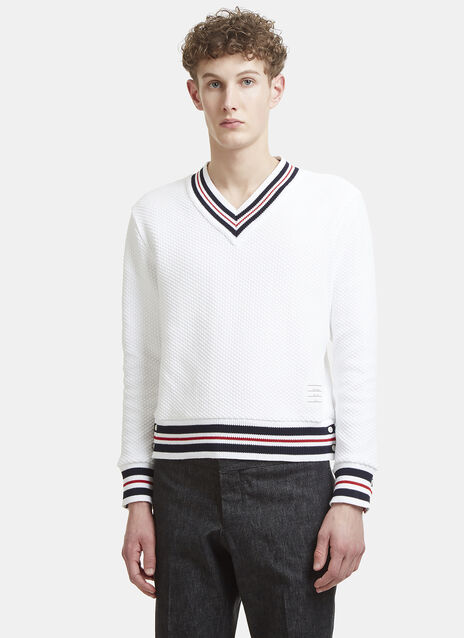 Thom Browne Cricket Striped Basket Stitch Sweater
