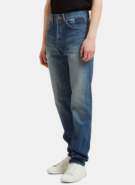 Straight Leg Washed Jeans