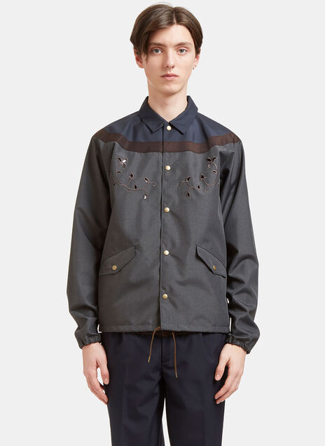 Embroidered Contrast Panelled Coach Jacket