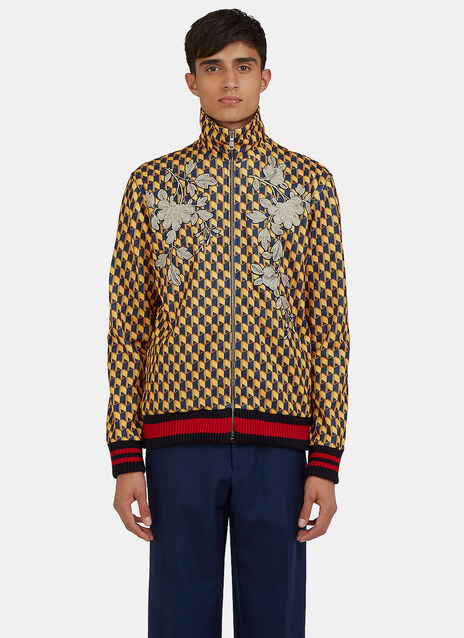 Embroidered Geometric Print Teddy Bomber Jacket