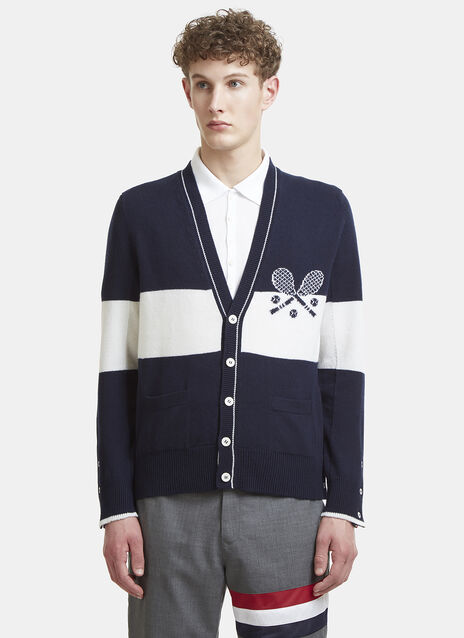 Thom Browne Tennis Intarsia Striped Knit Cardigan