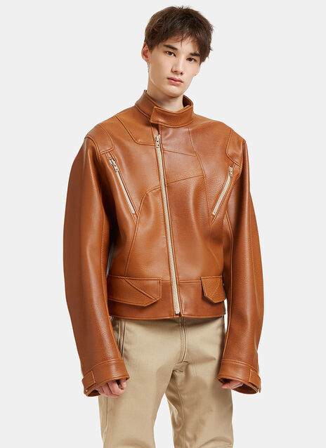 Oversized Faux Leather Biker Jacket