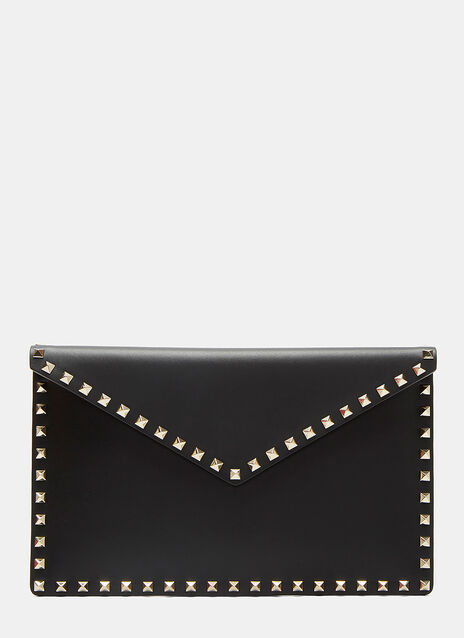 Large Pyramid Stud Flat Leather Pouch