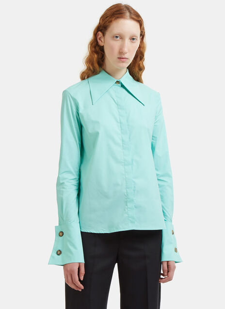 Oversized Lapel French Cuff Poplin Shirt