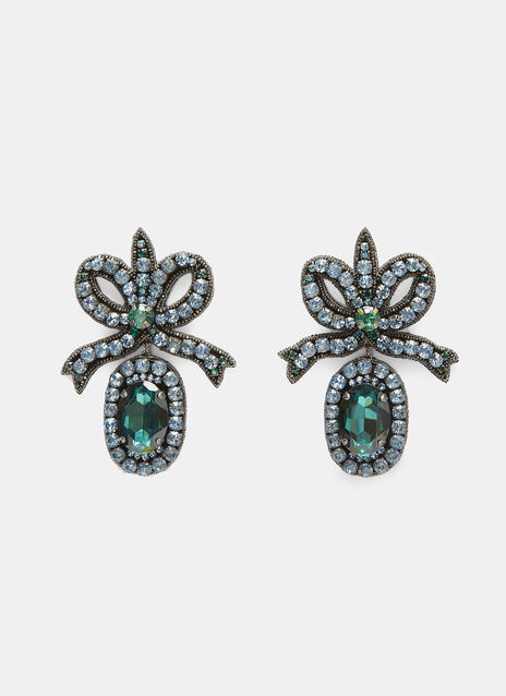 Crystal-Embroidered Bow Earrings
