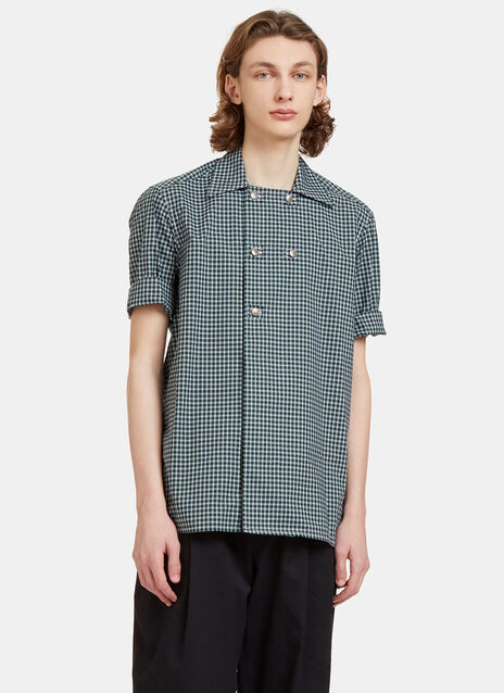 Checked Double-Breasted Poplin Shirt