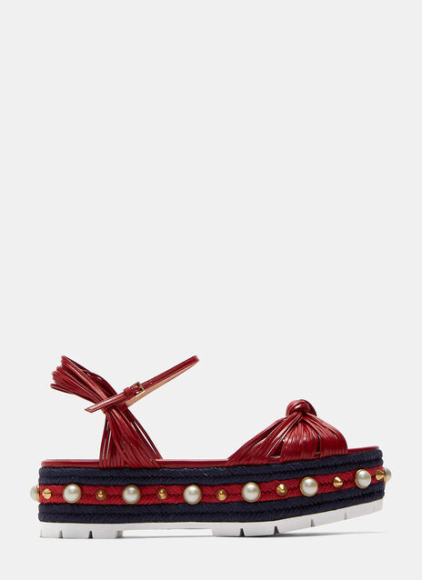 Leather Knotted Platform Espadrille Sandals