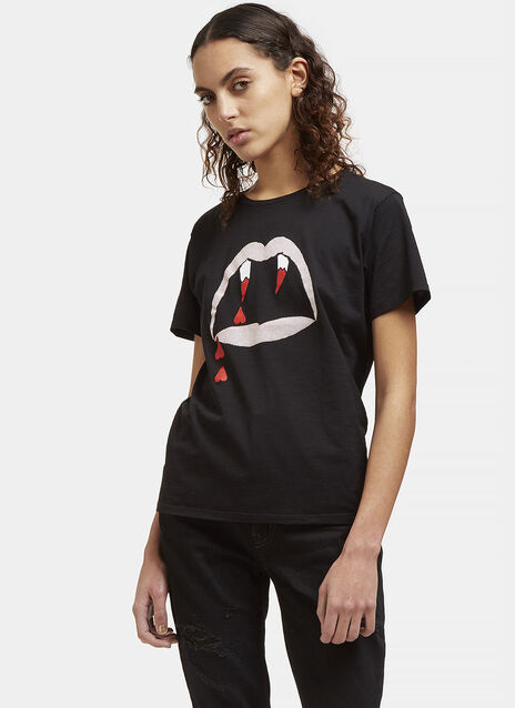 Blood Luster Mouth Print Crew Neck T-Shirt