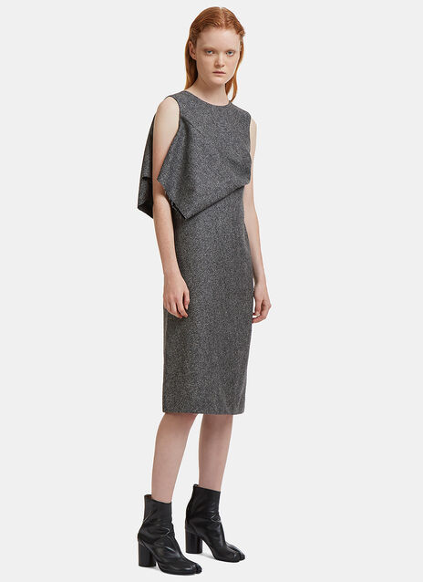 Tweed Sleeveless Fold Dress