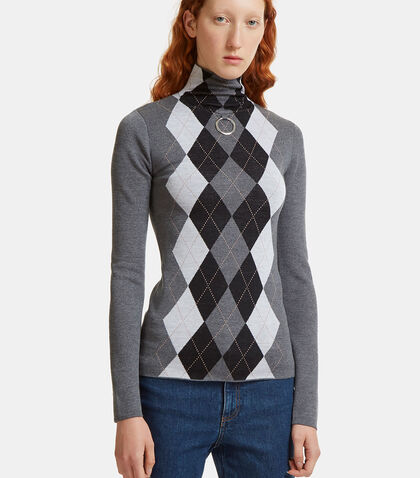 Argyle Jacquard Roll Neck Sweater