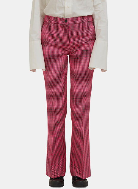Flared Houndstooth Check Pants