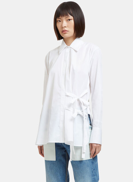 Side Tie Poplin Shirt