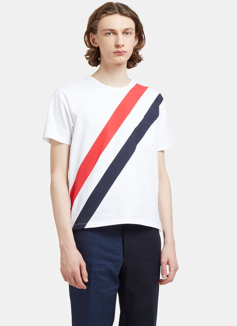 Diagonal Striped Pocket T-Shirt
