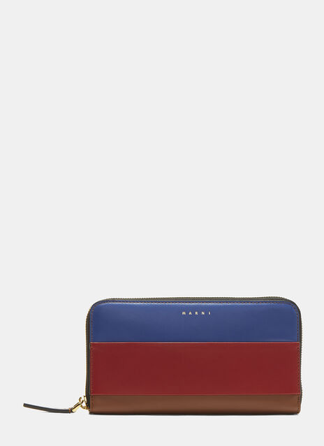 Marni Striped Leather Zip Wallet