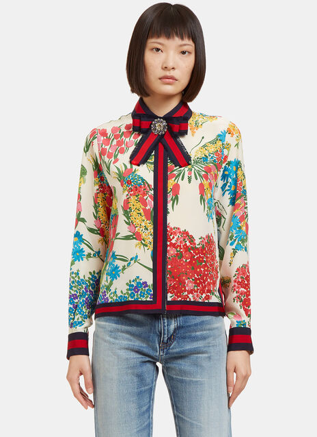 Bejewelled Bow Brooch Floral Printed Shirt