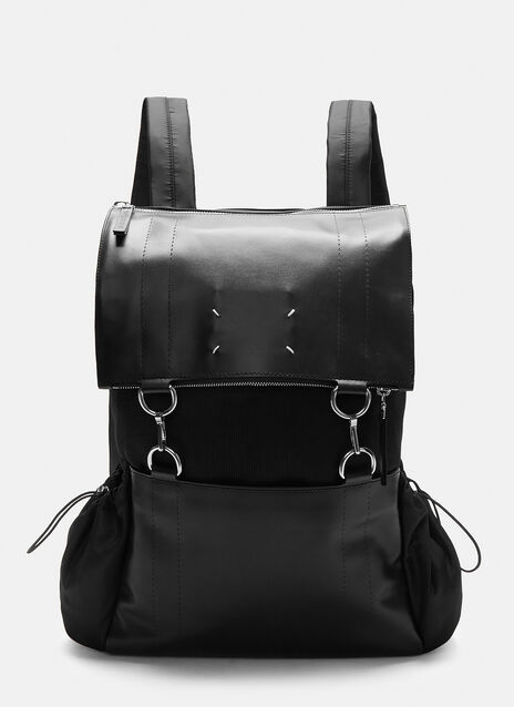 Mesh and Leather Link Ring Backpack