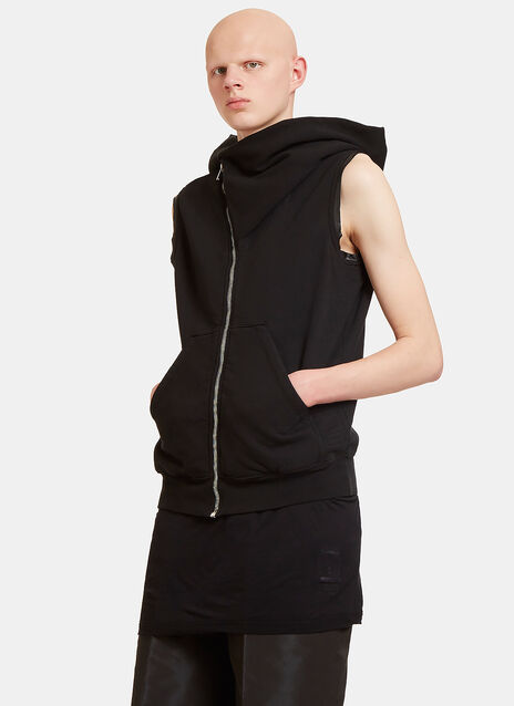 Draped Hood Zip-Up Sleeveless Sweater
