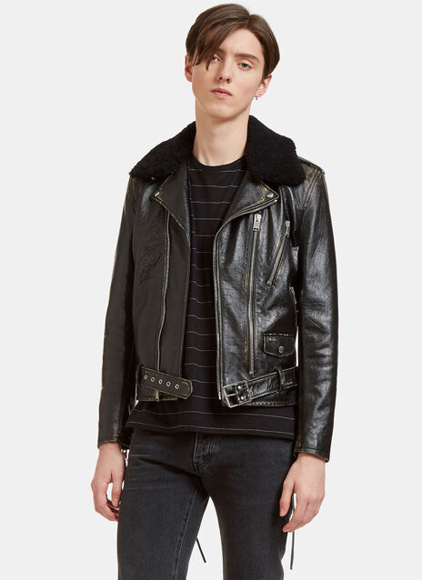 Vintage Look Shearling Collared Biker Jacket