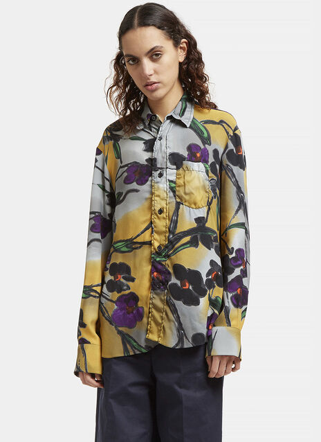 Floral Print Frilled Placket Shirt
