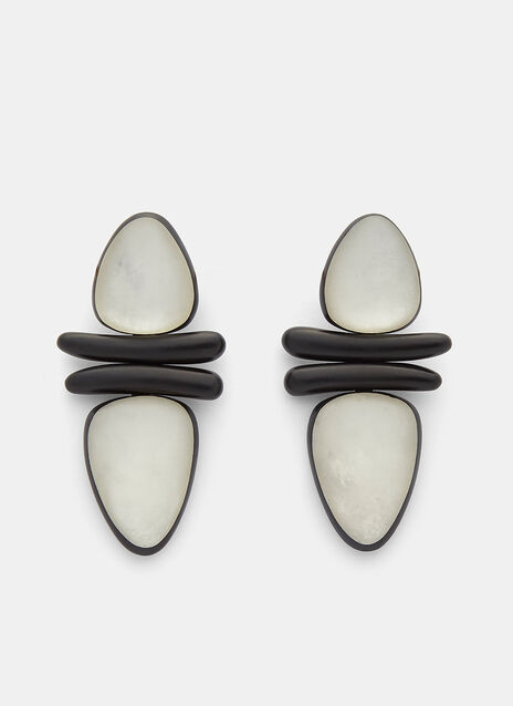 7798 Ebony and Pearl Leaf Clip-On Earrings