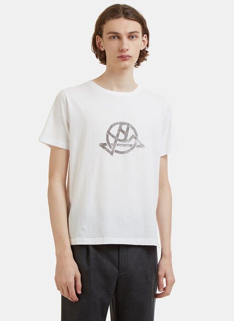 Saint Laurent Crew Neck Abstract Printed Logo T-Shirt