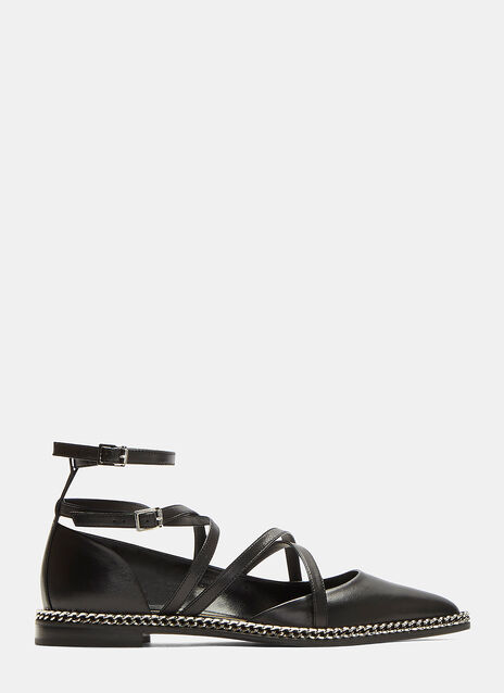 Pointed Toe Ballerina Chain Detail Shoes