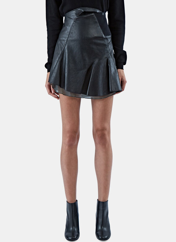 Paco Rabanne Stretch Leather Skater Skirt