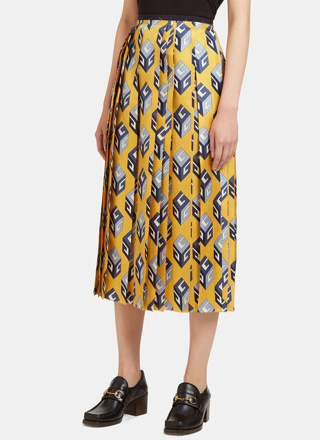 GG Wallpaper Print Pleated Skirt