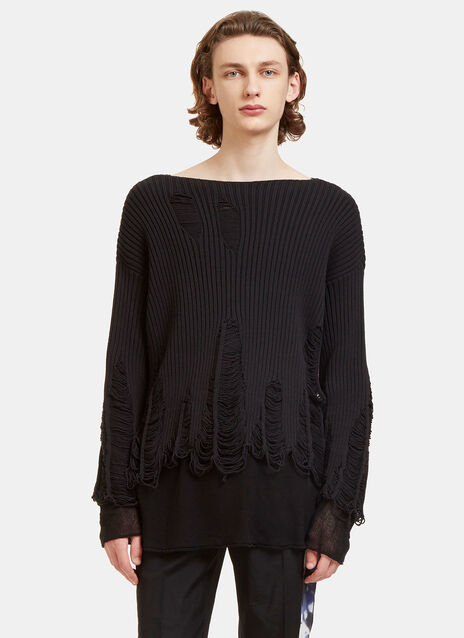 Peeling Crew Neck Ribbed Knit Sweater