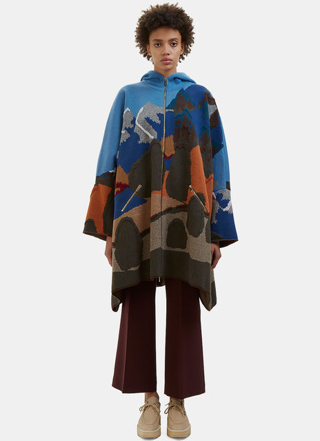 Oversized Landscape Knit Cape