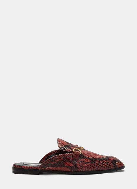 Faux Snakeskin Slip-On Loafers