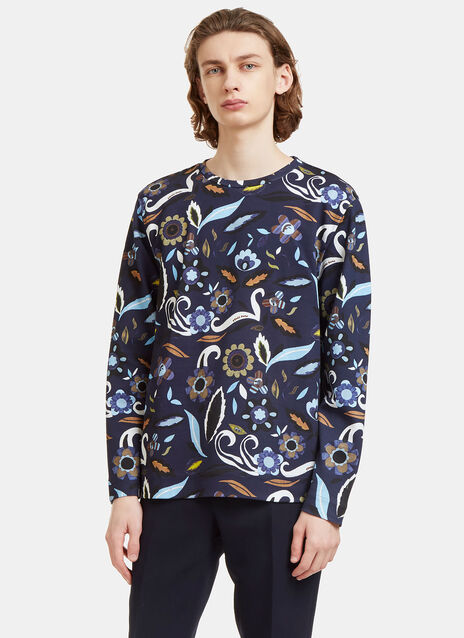 Garden Print Crew Neck Sweater