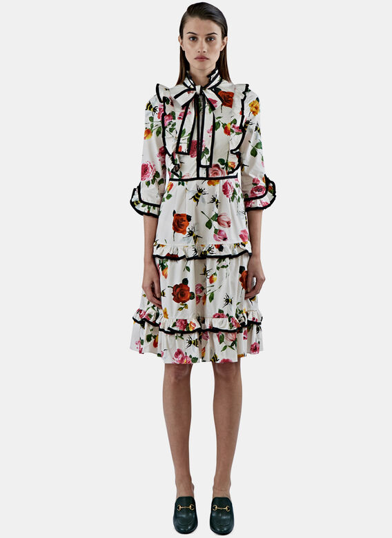 Gucci Floral Print Cotton Dress