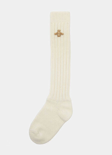 Metallic Bee Motif Stretch Wool Socks