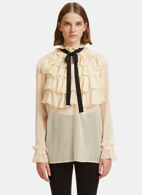 Crêpe de Chine Ruffled Shirt