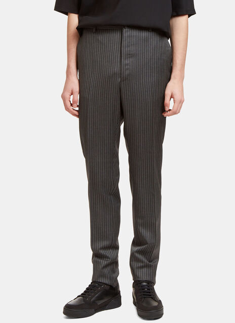 Topstitched Pinstripe Straight Leg Pants