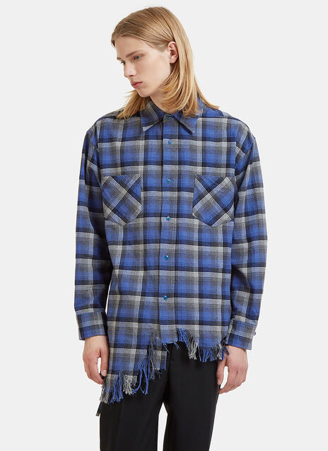 Checked Raw-Edge Fringe Shirt