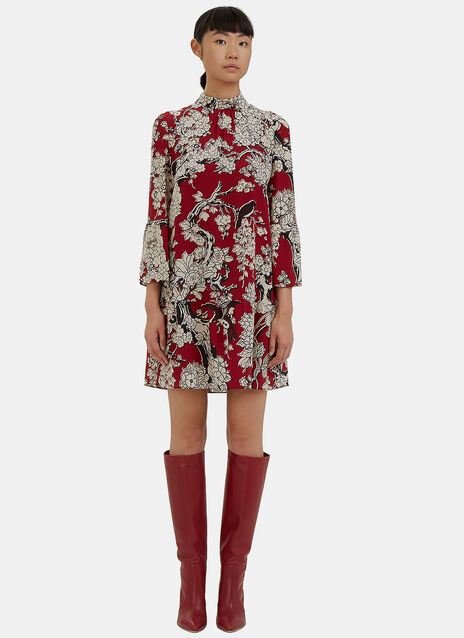 Short Floral Printed Flared Cuff Dress