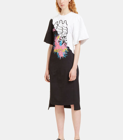 Stitched Printed Panel Jersey Dress