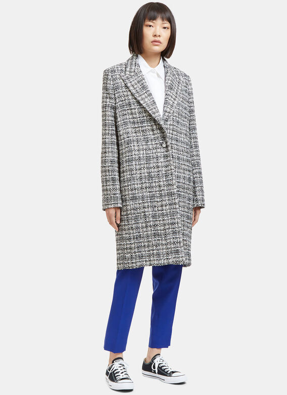 Lanvin Mid-Length Single-Breasted Tweed Coat