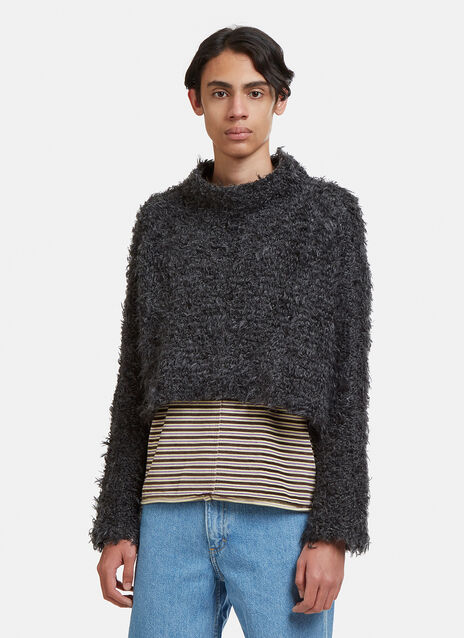 Eckhaus Latta Hairy Mock Neck Knit Sweater
