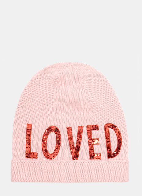 Sequin Embroidered Loved Knit Hat