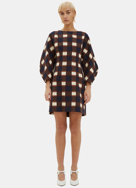 Oversized Wool Checked Dress
