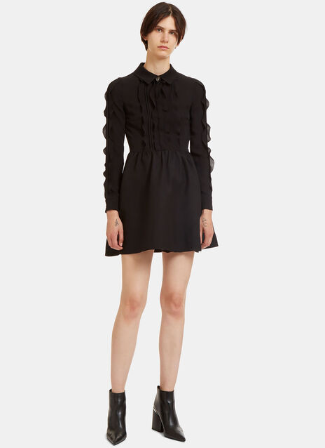 Ruffled Crêpe de Chine Mini Dress